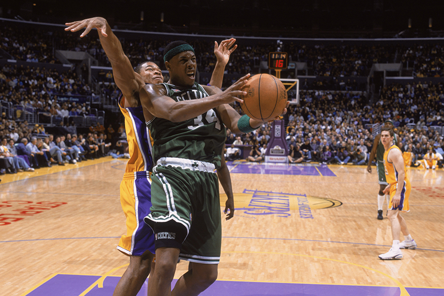 Paul Pierce #34 of the Boston Celtics shoots.