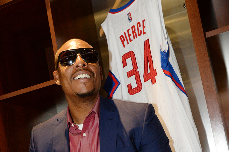 LOS ANGELES, CA - JULY 21: Paul Pierce #34 of the Los Angeles Clippers sits in the locker room before the press conference at STAPLES Center on July 21, 2015 in Los Angeles, California. NOTE TO USER: User expressly acknowledges and agrees that, by downloading and/or using this Photograph, user is consenting to the terms and conditions of the Getty Images License Agreement. Mandatory Copyright Notice: Copyright 2015 NBAE (Photo by Andrew D. Bernstein/NBAE via Getty Images)