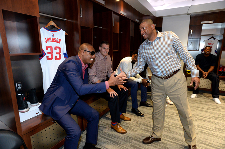 LOS ANGELES, CA - JULY 21: Paul Pierce #34 and Doc Rivers of the Los Angeles Clippers shake hands in the locker room before a press conference at STAPLES Center on July 21, 2015 in Los Angeles, California. NOTE TO USER: User expressly acknowledges and agrees that, by downloading and/or using this Photograph, user is consenting to the terms and conditions of the Getty Images License Agreement. Mandatory Copyright Notice: Copyright 2015 NBAE (Photo by Andrew D. Bernstein/NBAE via Getty Images)