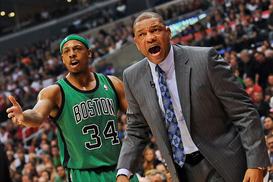 LOS ANGELES, CA - DECEMBER 27: Head Coach Doc Rivers of the Boston Celtics and Paul Pierce #34 react from the sideline during a game against the Los Angeles Clippers on December 27, 2012 at the Staples Center in Los Angeles, California. NOTE TO USER: User expressly acknowledges and agrees that, by downloading and or using this photograph, user is consenting to the terms and conditions of the Getty Images License Agreement. Mandatory Copyright Notice: Copyright 2012 NBAE (Photo by Noah Graham/NBAE via Getty Images)