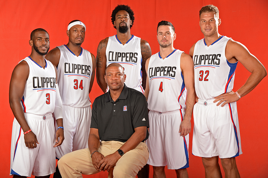 PLAYA VISTA, CA - SEPTEMBER 25:  Chris Paul #3, Paul Pierce #34, DeAndre Jordan #6, J.J. Redick #4 Blake Griffin #32 and Doc Rivers of the Los Angeles Clippers pose for a portrait during media day at the Los Angeles Clippers Training Center on September 25, 2015 in Playa Vista, California. NOTE TO USER: User expressly acknowledges and agrees that, by downloading and/or using this Photograph, user is consenting to the terms and conditions of the Getty Images License Agreement. Mandatory Copyright Notice: Copyright 2015 NBAE (Photo by Andrew D. Bernstein/NBAE via Getty Images)