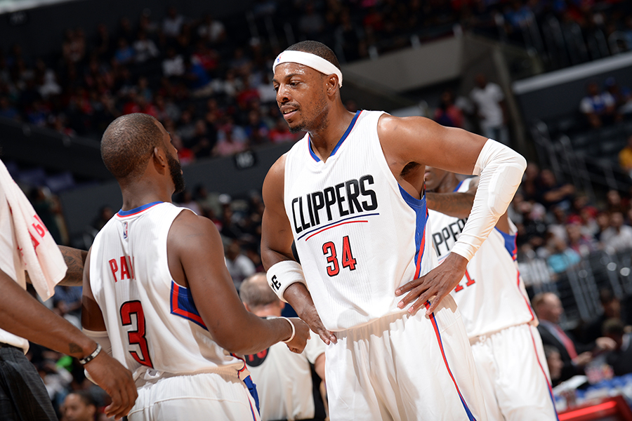 LOS ANGELES, CA - OCTOBER 02:  Chris Paul #3 and Paul Pierce #34 of the Los Angeles Clippers talk during the game against the Denver Nuggets at STAPLES Center on October 02, 2015 in Los Angeles, California. NOTE TO USER: User expressly acknowledges and agrees that, by downloading and/or using this Photograph, user is consenting to the terms and conditions of the Getty Images License Agreement. Mandatory Copyright Notice: Copyright 2015 NBAE (Photo by Noah Graham/NBAE via Getty Images)