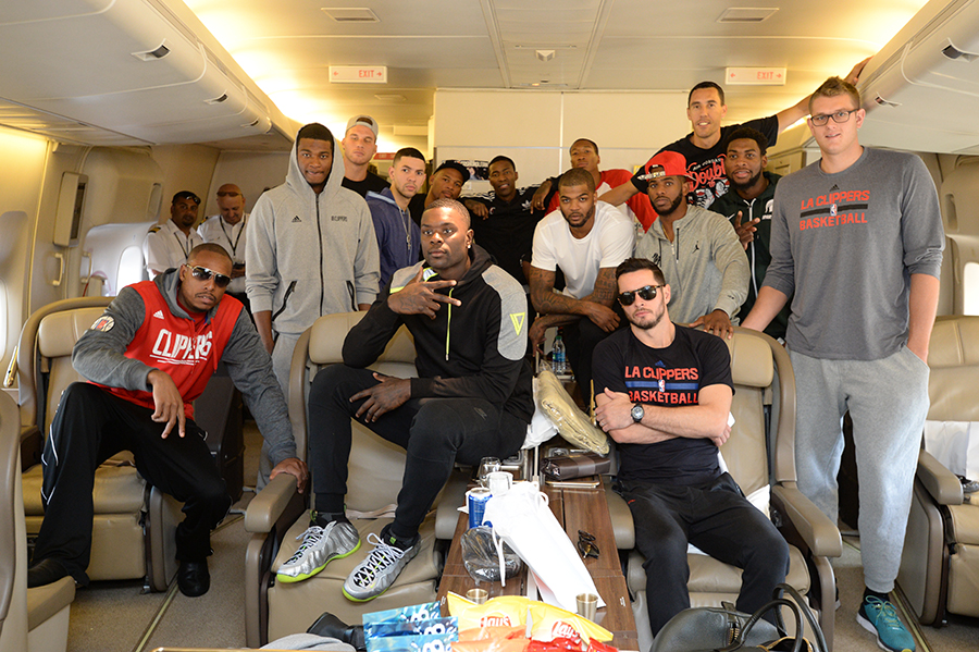 LOS ANGELES, CA - OCTOBER 7:  The Los Angeles Clippers poses for a photo on the plane the Los Angeles International Airport on October 7, 2015 in Los Angeles, California. NOTE TO USER: User expressly acknowledges and agrees that, by downloading and/or using this Photograph, user is consenting to the terms and conditions of the Getty Images License Agreement. Mandatory Copyright Notice: Copyright 2015 NBAE (Photo by Andrew D. Bernstein/NBAE via Getty Images)